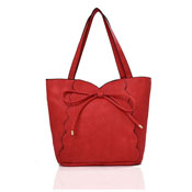 Bow Detail Tote Bag Red