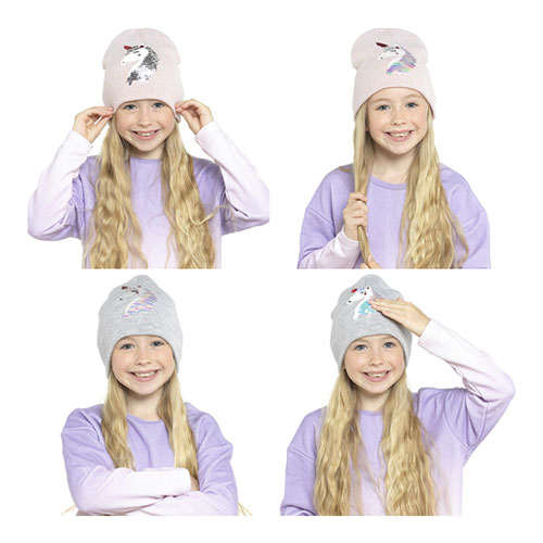 Kids Unicorn Reversible Sequins Hat