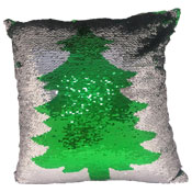 Green Tree Sequin Filled Cushion