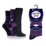 Ladies Gentle Grip Socks Floral Stripes