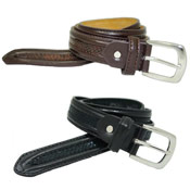 Leather Lined Belt Snakeskin Trim