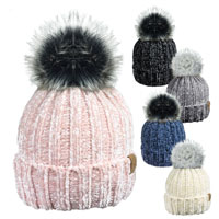 Ladies Smooth Chenille Detachable Pom Pom Hat