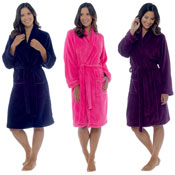 Ladies Soft Coral Fleece Dressing Gown