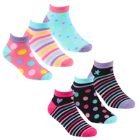 Girls 3 Pack Bamboo Trainer Socks Spots Stripes