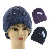 Ladies Knitted Hats with Pearl effect