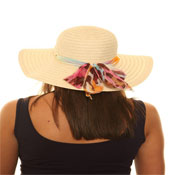 Ladies Straw Hat with Chiffon Band