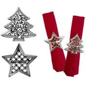 Silver Napkin Ring Star/Tree