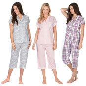 Ladies Cropped Woven Pyjama Set Assorted Designs