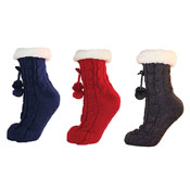 Ladies Cable Knit Fleece Lined Slipper Socks