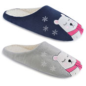 Ladies Soft Fleece Mules Polar Bear Blue/Grey