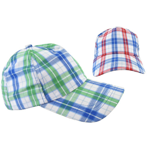 Kids Check Design Baseball Cap Green/Red