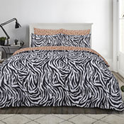 Large Zebra Print Monochrome Duvet Set