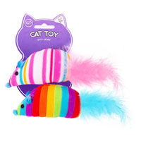 Rainbow Mouse Cat Toy With Catnip 2 Pack