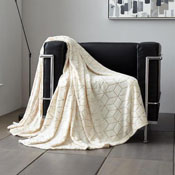 Metallic Cube Faux Mink Throw Cream