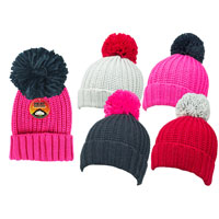 Girls Heat Machine Pom Pom Hats Plain Colours