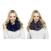 Ladies Textured Fur Snood Scarf