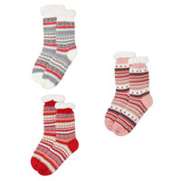 Ladies Cosy Slipper Socks with Lining Jacquard