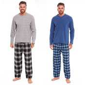Mens Checked Style Pyjama Set Blue/Grey