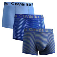 Mens Cavailia Hipster Stretch Boxers Blue Assorted