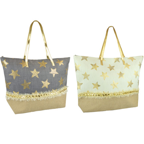 Star Print Paperstraw Beach Bag