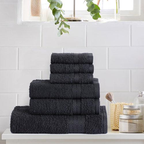 6 Piece Luxury Towel Bale Set Black