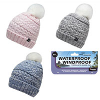 Ladies Waterproof Twist Yarn Bobble Hat