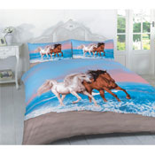 Multi Horses Printed Panel Duvet Set