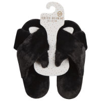 Ladies Plush Cross Slippers Black