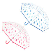 Kids Raindrops Clear Umbrella Blue/Pink