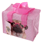 Woven Lunch Box/Cool Bag Pink Pug