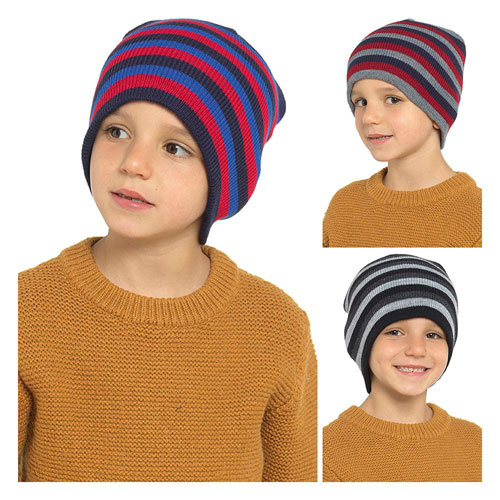Kids Acrylic Striped Beanie Hat
