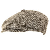 Mens Grey 8 Panel Flat Cap