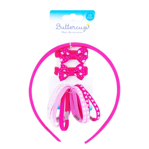 Girls Pink Hair Accessories Set 12 Pieces