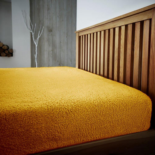 Super Soft Teddy Feel Fitted Bed Sheet Ochre