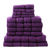 10 Piece Towel Bale Aubergine Egyptian Cotton