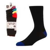 Coloured Heel & Toe Socks 5 Pack