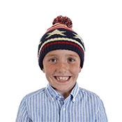 Kids Knitted Bobble Hat With Pom Pom Stars