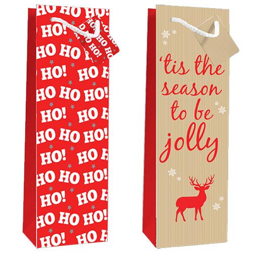 Christmas Jolly Design Luxury Bottle Bag 2 Pack