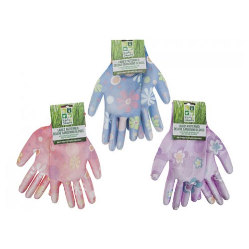 Ladies Patterned Extra Grip Garden Gloves