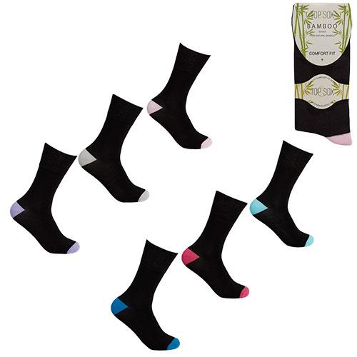 Ladies Non Elastic Bamboo Socks Coloured Heal/Toe