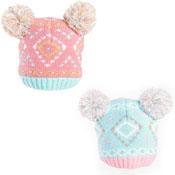 Baby Girls Jacquard Knit Double Pom Pom Hat Pink/Aqua