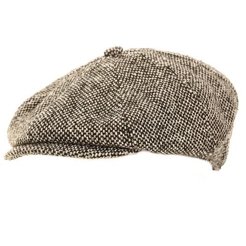 Mens Grey 8 Panel Flat Cap