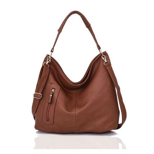 Nattie Side Zip Slouch Bag Red Brown