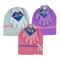 Girls Beanie Hat And Gloves Set