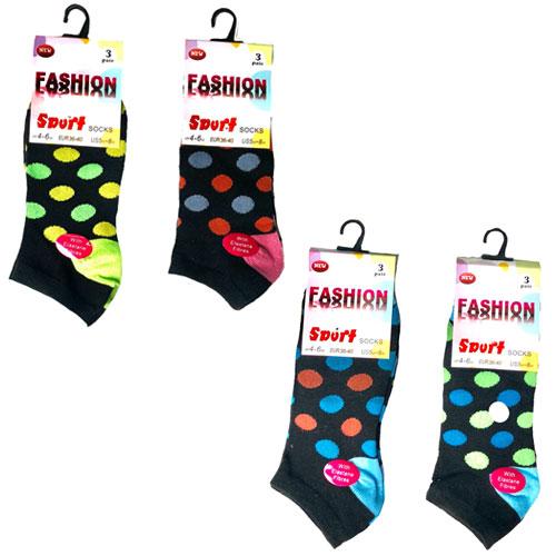 Ladies Fashion Trainer Socks Spots Design