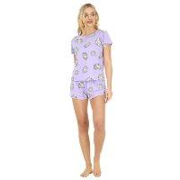 Lavender Daisy Printed Top And Shorts Pyjama Set