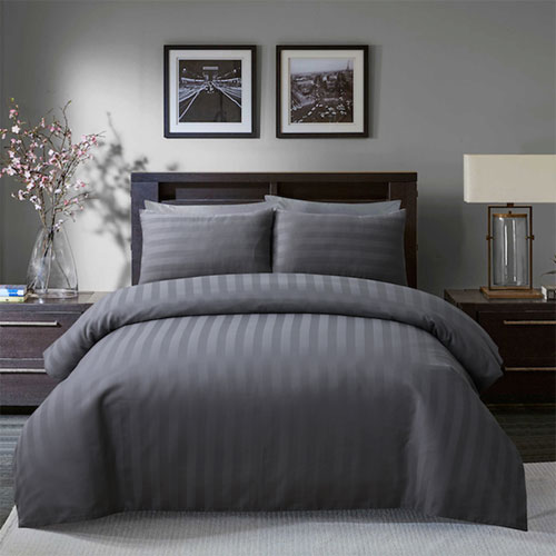 Satin Stripe Grey Hotel Quality Luxury Duvet Set