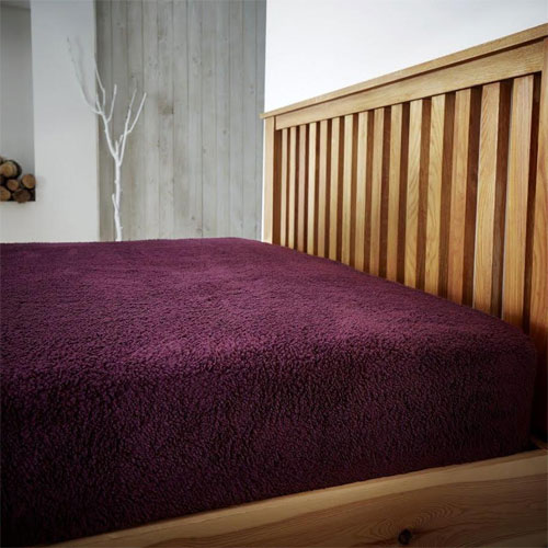 Super Soft Teddy Feel Fitted Bed Sheet Aubergine