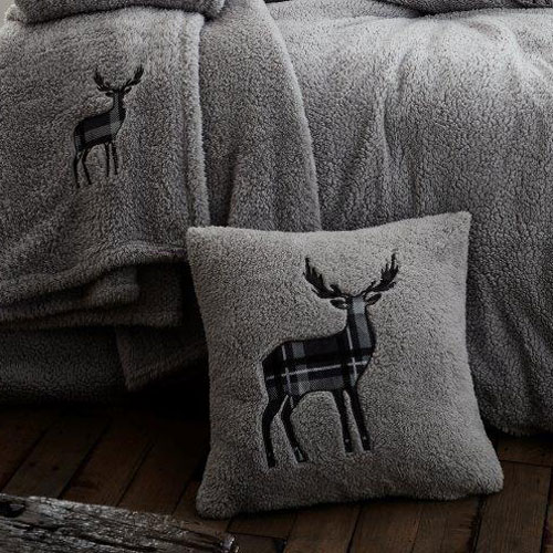 Stag Embroidered Soft Teddy Feel Cushion Cover Silver