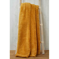 Soft and Cosy Teddy Blanket Throw Ochre 200x240